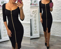 Sexy Club Low Chest Velvet Bodycon Dress Women 2018 Autumn Winter Zipper Black Red Sheath Party Dresses Lady Office Dress Female