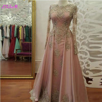 Elegant Gold Lace Appliqued Long Prom Dresses O-Neck Beaded Crystal