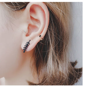 2018 New Women's Fashion Black Branch Leaf Climber Earrings Geometric