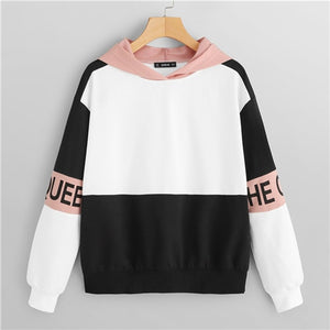 Color Block Letter Print Pullovers Hooded Sweatshirt 2018 Autumn