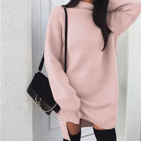 BEFORW Winter Long Sleeve Women Sweater Dress Fashion Turtleneck Knitted Dresses Casual Plus Size Mini Dress White Wome Clothes
