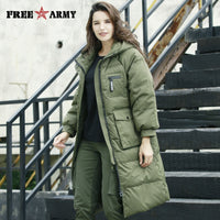 FreeArmy Oversized Women's Down Jackets Winter Hooded Snow Jacket Long Parkas