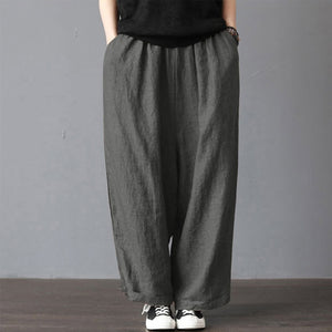 Plus Size Cotton Linen Pants Women Casual Solid Wide Leg Trousers Autumn Large Vintage Pockets Elastic Waist Loose Pants 5xl
