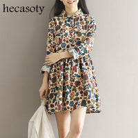 Maternity Clothes Spring Autumn Print Long Sleeve Loose Casual Dress