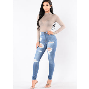 Dilusoo Women High Waist Jeans Pants Elastic Holes Denim Jeans 4 Season Pencil Pants Ripped Women's Casual Jeans Trousers 2019