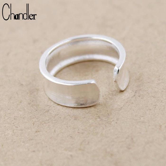 Chandler 925s Silver Wide Concave Ring Geometrica Simple Ring For Women Men Knuckle Toe Chunky Bague Lovers Gift Fashion Jewelry