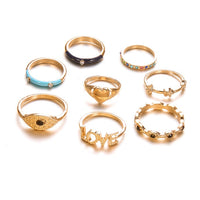 Nine Design 8Pcs/Lot Bohemian Finger Ring  Set For women Gold Color Heart Love crystal Boho Punk Party Knuckle Rings Jewelry