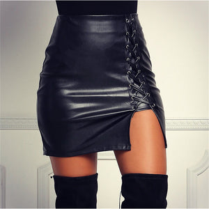 Black Lace Up PU Leather Skirts Autumn Spring Women Side Split Pencil Skirts Vintage Bodycon High Waist Mini Skirt