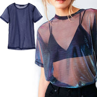 Chic Sexy Mesh Tee See-Through T-shirts Perspective Shine Casual Top Vintage Blusa