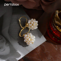 Peri'sBox Baroque Multi Small Freshwater Pearls Hoop Earrings for Women