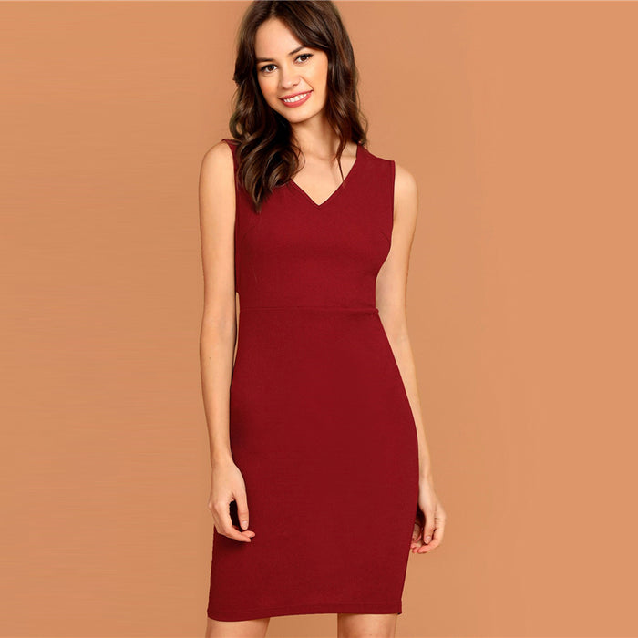 Burgundy Plunging Neck Pencil Dress Solid Sleeveless V Neck Bodycon Dress