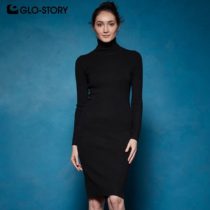 GLO-STORY 2018 Winter Women Basic Turtleneck Sweater Dress Solid Bodycon Sexy Party Dress Elegant Vestidos for Female WYQ-7628