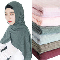 New Women Modal Cotton Wrinkle Design Scarves Muslim Hijab Solid Color Malaysia Jersey Hijab Long Towel Shawl Soft Headscarf