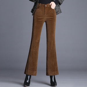 Shuchan Corduroy Flare Pants 2018 Autumn Winter Women's Clothing Of High Quality