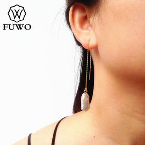 FUWO Fashion Irregular Freshwater Pearl Earrings With 24K Gold Filled Raw