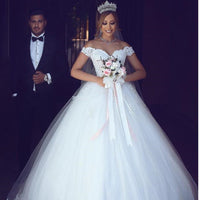 2019 New Arabic Lace Off Shoulder Wedding Dress V-neck Ball Gown Wedding Gown