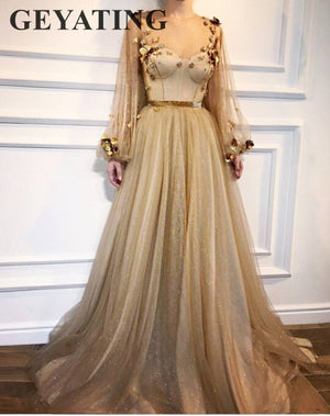 Bling Bling Gold Sequin Prom Dresses 2019 Long Sleeves Evening Dress A-line
