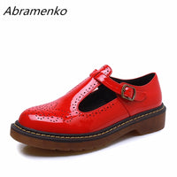 Abramenko Women Oxfords Brogue Flats Shoes Summer Patent Leather