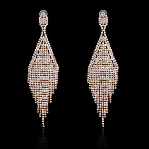 Shevalues 2017 Women Engagement Stylish AB Rhinestones Long Tassel Drop