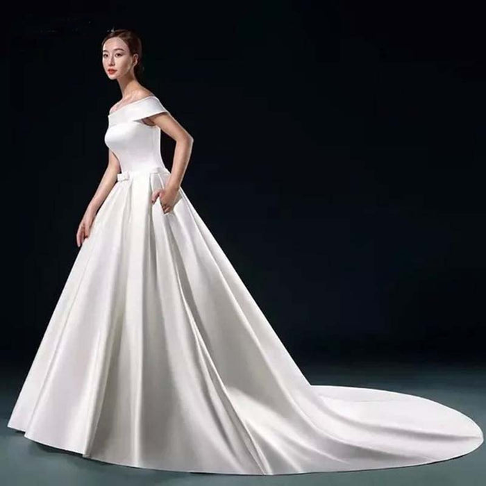 White Satin Simple Wedding Dresses A-line Off the Shoulder Cheap Wedding