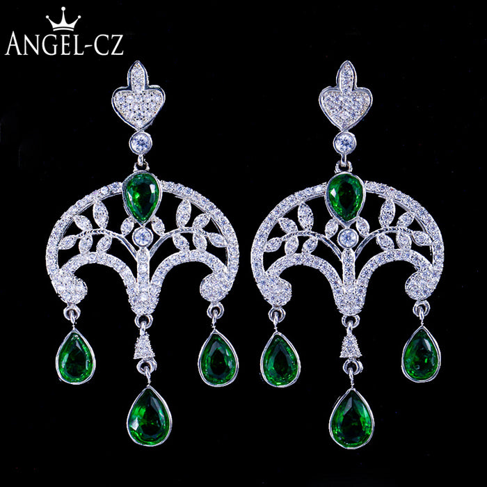 ANGELCZ Vintage Party Green Cubic Zirconia Stone Silver 925 Big Chandelier