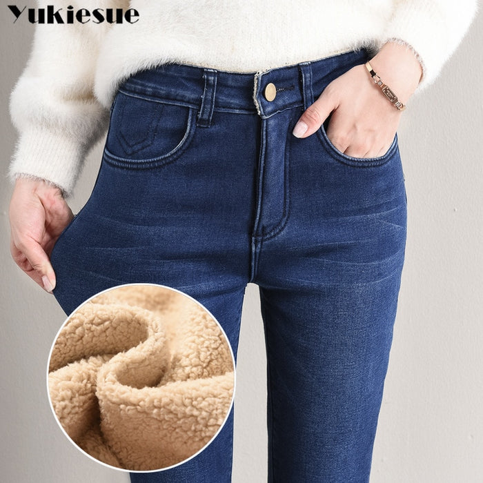 Winter Jeans Female High Waist Denim Skinny Warm Thick Jeans for women Mujer Plus Size Velvet Pants Stretch Pantalon Femme