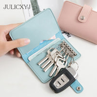 JULICXYJ Brand Men Women Car Key Wallets Fashion Keys Holder Pouch Credit Card Housekeeper Organizer Case Money Bag By 4 Colors