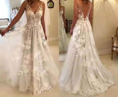 Sexy Wedding Dresses Long V Neck Party Gowns Back Deep V Appliques