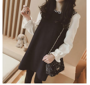 Pengpious 2019 Korean style chiffon sleeve patchwork pregnant women long loose shirts plus size maternity block color blouses