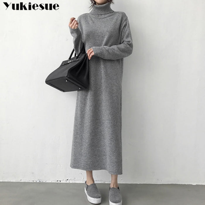 turtleneck thick knitting long 2018 Winter black Sweater Dress Women A Line thick Knit Long Dress female Loose girl dress