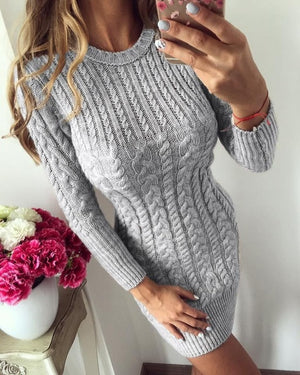 FJUN Warm Sweater Dress Women 2018 New Autumn Winter Sexy Slim Tight Dress Female O neck Long Sleeve Knitted Dress Vestidos