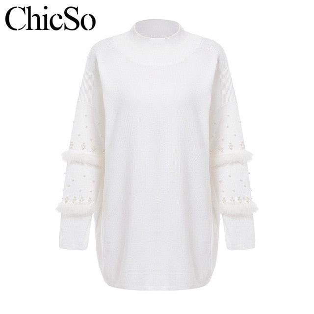 MissyChilli Pearl fur long knitted christmas sweater Women long sleeve autumn winter