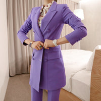 New arrival women professional temperament double breasted fashion long