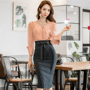 Foamlina Elegant Women's Pencil Skirt 2018 New Fashion Korean OL Style Bowknot High Waist Knee Length Work Office Bodycon Skirt