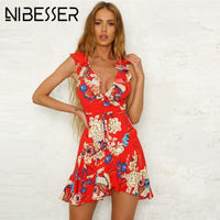 NIBESSER Summer Dress Women Sexy Beach Party Mini Sundress Floral Vintage