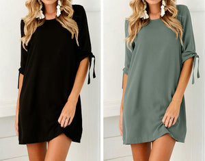 Loose Casual Sexy Solid Color Half Sleeve Lace Up O-Neck T-shirt Dress