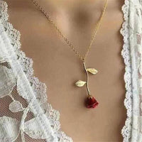 Trendy Red Rose Pendant Necklace Women Jewelry Choker Necklace Chain