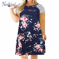 Floral Print Loose Striped T-shirt Dress Vintage Long Sleeve Party Plus Size Dress