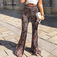 Tobinoone Leopard Print High Waist Flare Pants 2018 Autumn Long Casual Party Trousers Women Sexy Streetwear Trousers Full Pants
