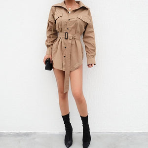 HEYounGIRL Elegant Windbreaker Trench Coat for Women Dress Fashion Khaki Casual Overcoat Irregular Long Coat Korean Autumn 2018