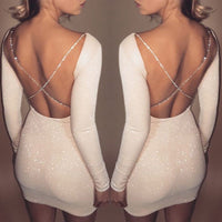 2018 Autumn Sexy Women's Bodycon Backless Party Long Sleeve Sheath