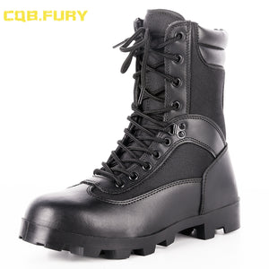 CQB.FURY Black mens Tactical Boots Leather summer waterproof military boots