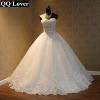 QQ Lover 2019 Elegant Luxury Lace Wedding Dress Vintage Plus Size Ball