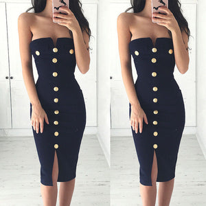 New Sexy Women's Summer Strapless Bodycon Skinny Button Dresses Party Cocktail Club Sheath Slash Neck Dress