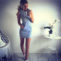 New Womens Sleeveless Jumper Dress Summer Evening Party Hoodies Tops Mini Dress