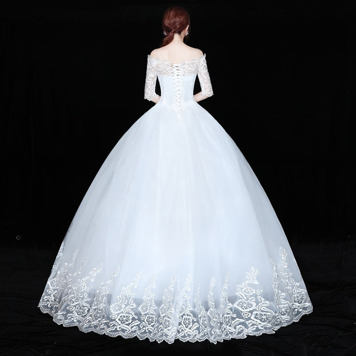 OPZC Vestidos de Noiva Ball Gown Lace Wedding Dress Half Sleeves