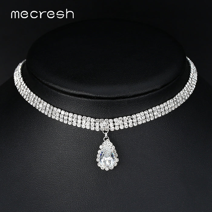 3 Row Silver Color Teardrop Choker Necklace for Women Trendy