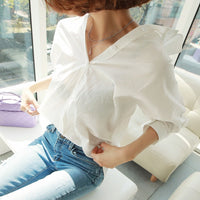 fashion women tops Summer 2018 backless sexy Hollow Out Lace Blouse Shirt