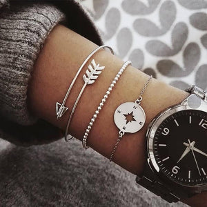 3 Pcs/set Vintage Silver Gold Letters Arrow Punk Key Stars Moon Simple Bracelet