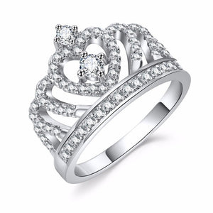 Fashion Silver Rings Crystal Heart Rings Women's Crown Zircon Ring Jewelry